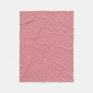Red Greek Key Pattern Fleece Blanket