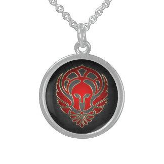 Red Greek Spartan Warrior Sterling Silver Necklace