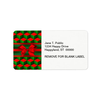 Red & Green 3D Look Cubes Ribbon Christmas Address Label