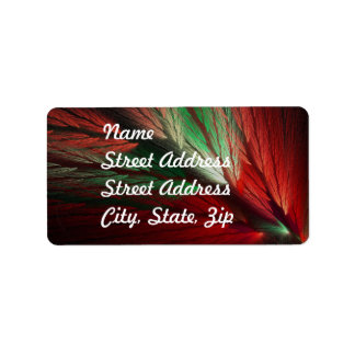 Red & Green Abstract Fractal Address Sticker Address Label