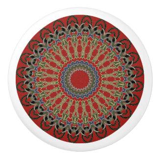 Red, Green and Blue Mandala Ceramic Knob