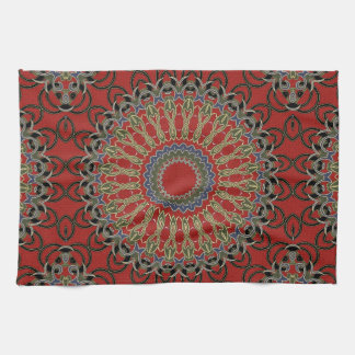 Red, Green and Blue Mandala Hand Towels