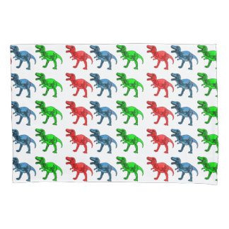 Red Green and Blue T-Rex Pillowcase