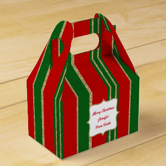 Red, Green, and Gold Holiday Gable Favor Gift Box
