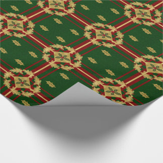 Red Green and Gold Holly and Berry with Stripes