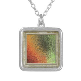 Red Green And Gold Pattern Silver Plated Necklace