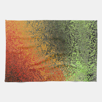 Red Green And Gold Pattern Kitchen Towels