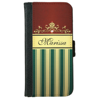 Red Green and Gold Stripes iPhone 6 Wallet Case