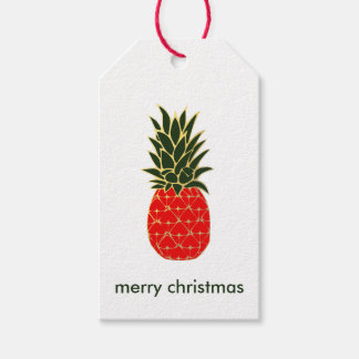 Red Green and Gold Tropical Pineapple Christmas Gift Tags