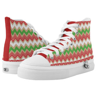 Red Green and White Zigzag High Top Shoes Printed Shoes