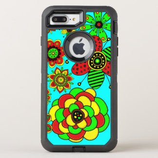 Red, green and yellow flowers OtterBox defender iPhone 8 plus/7 plus case