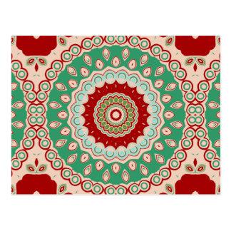 Red, Green & Aqua Kaleidoscope Flowers Postcard