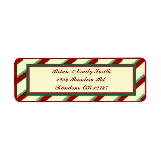 Red green beige Christmas stripes return labels