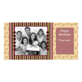 Red green beige floral design personalized photo card