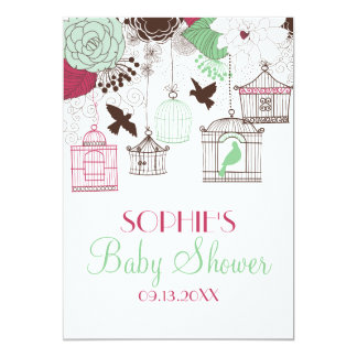 Red Green Birdcages Floral Baby Shower Invitations