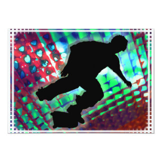 """Red Green & Blue Abstract Boxes  Skateboard 5"""" X 7"""" Invitation Card"""