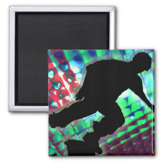 Red Green Blue Abstract Boxes Skateboard Magnet
