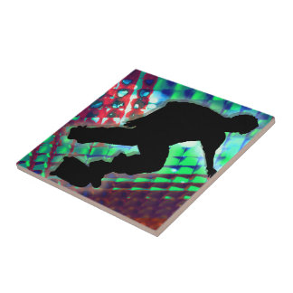 Red Green Blue Abstract Boxes Skateboarder Tiles