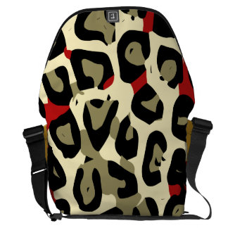 Red Green Camouflage Cheetah Abstract Messenger Bags