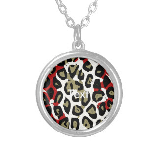 Red Green Camouflage Cheetah Abstract Round Pendant Necklace