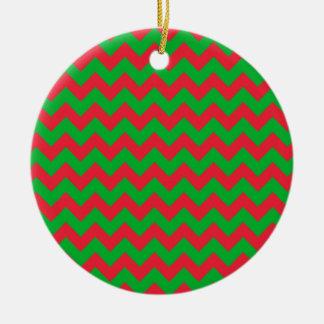 Red Green Chevron Ceramic Ornament