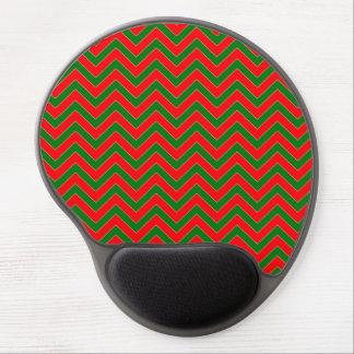 Red & Green Christmas Chevron Zig Zag Stripe Gel Mouse Pad