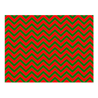 Red & Green Christmas Chevron Zig Zag Stripe Post Cards