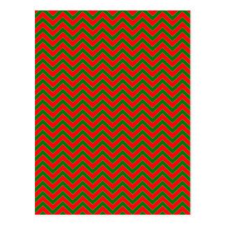 Red & Green Christmas Chevron Zig Zag Stripe Postcard