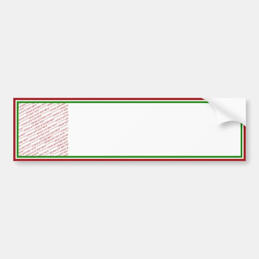 Red & Green (Christmas Colors) Trimmed Template Bumper Sticker
