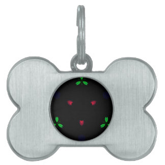 Red Green Christmas On Black Background Pet Name Tag