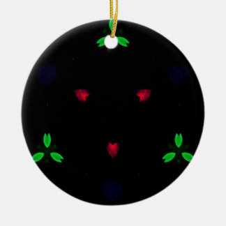 Red Green Christmas On Black Background Round Ceramic Decoration