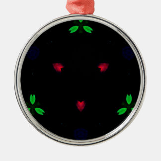 Red Green Christmas On Black Background Silver-Colored Round Decoration