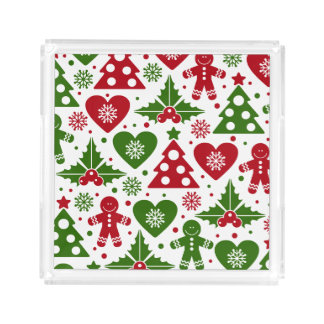 Red & Green Christmas Tree Gingerbread Man Pattern Acrylic Tray