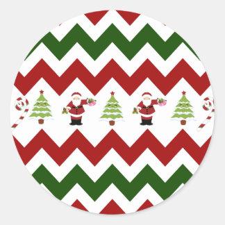 Red Green Christmas Tree Santa Chevron Pattern Round Stickers