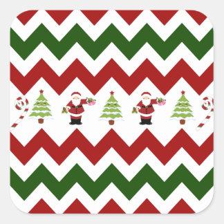 Red Green Christmas Tree Santa Chevron Pattern Sticker
