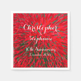 Red Green Christmas Wedding Anniversary Party Disposable Serviette