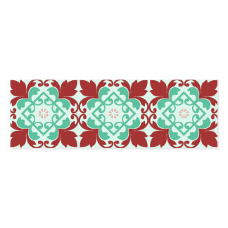 Red Green Decorative Flourish Pattern Pack Of Skinny Business Cards