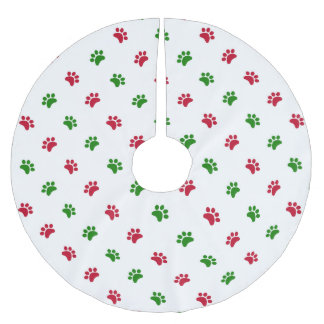 Red Green Dog Paws Christmas Tree Skirt