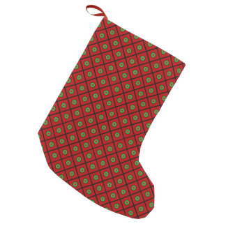 Red Green Dots Squares Small Christmas Stocking