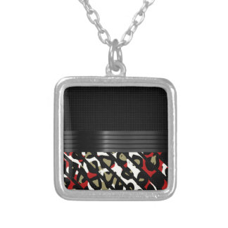 Red Green Elegant Cheetah Square Pendant Necklace