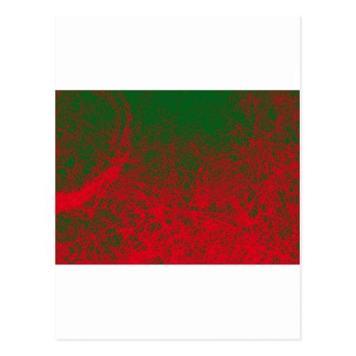 red green elephant postcard