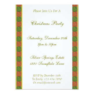 Red Green Fleur de Lis Custom Holiday Invitation