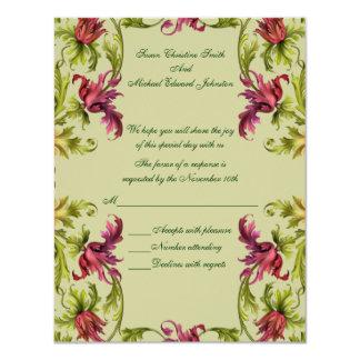 Red Green Floral Wedding Response RSVP 11 Cm X 14 Cm Invitation Card