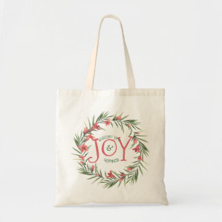Red & Green Floral Wreath Christmas Joy Template Tote Bag