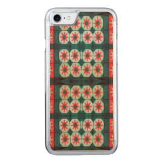 Red Green Flower Pattern Carved iPhone 7 Case