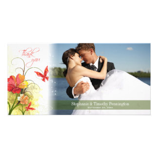 Red green flowers + butterfly wedding thank you picture card