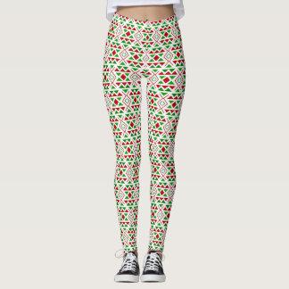 Red green geometric Leggings
