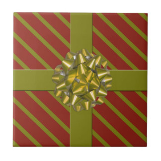Red & Green Gift  Gold Bow Ceramic Christmas Tile