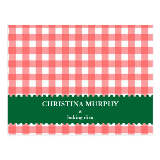 Red green gingham lined custom name recipe card postcard