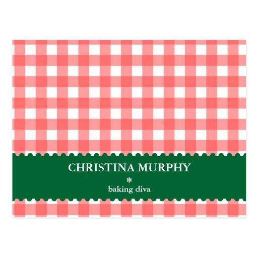 Red green gingham lined custom name recipe card postcard